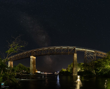 Milky Way looking past the CP Trestle in Parry Sound (Panorama Distortion)