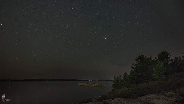 Night Sky looking beyond Zhiishiib Rock on Parry Sound's North Shore Rugged Trail