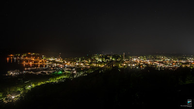 Parry Sound Harbour and Downtown at Night from Tower Hill