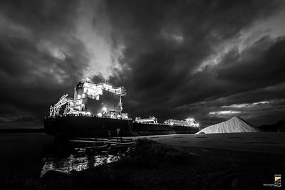 The Algoma Innovator Delivering Salt - October 1, 2020 (B&W)