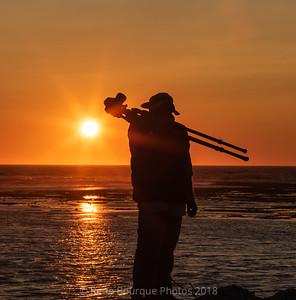 Silhouette à contre-jour au coucher de soleil