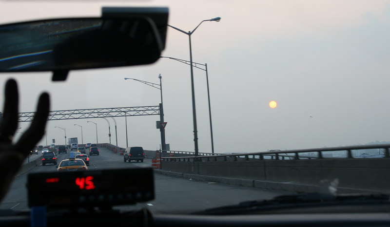 The sun rises on the way from Manhattan to JFK