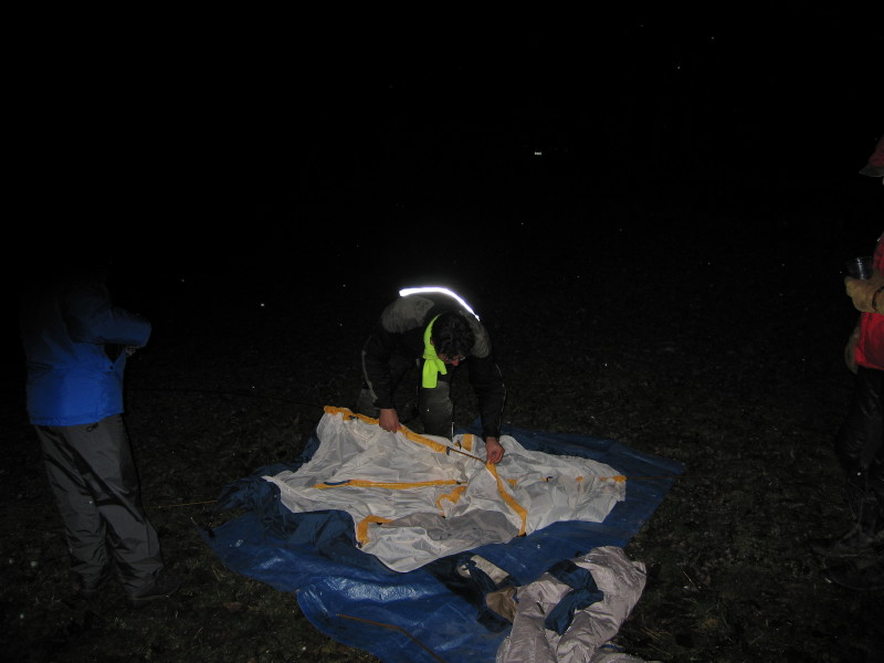 Late arrival, Bob, setting up his tent.