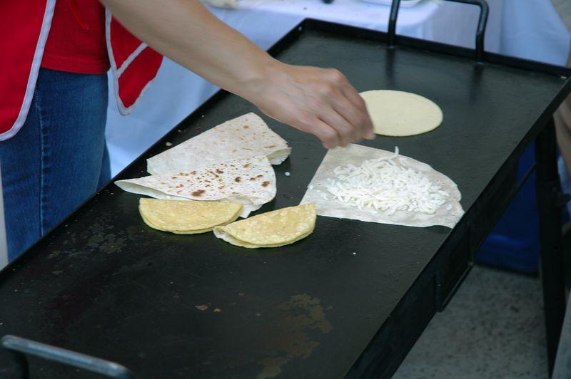 Quesadillas made with homemade tortillas.