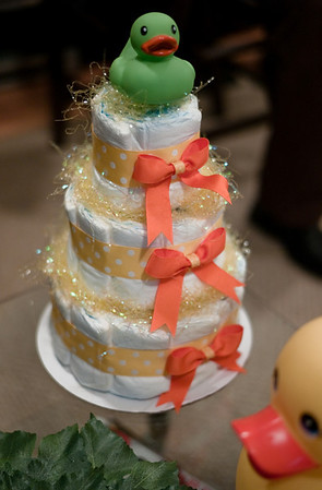 Yes, it's a three-tier diaper cake.