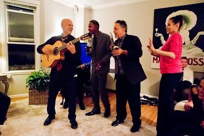 Bohemian Club afterglow party at Margaret Mitchell's - Freddy Clarke on guitar