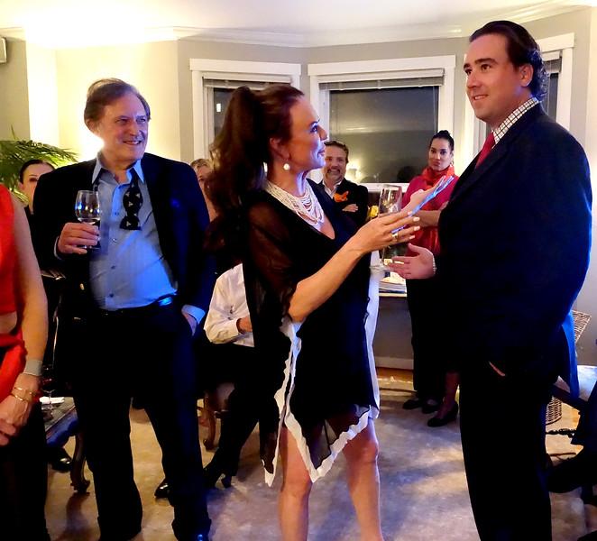 Bohemian Club afterglow party at Margaret Mitchell's - Robert Flynn Johnson, left; Margaret Mitchell, center