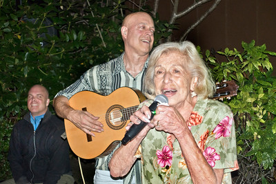 Pearl Clarke, singing, with son Freddy Clarke on guitar - Freddy Clarke birthday party