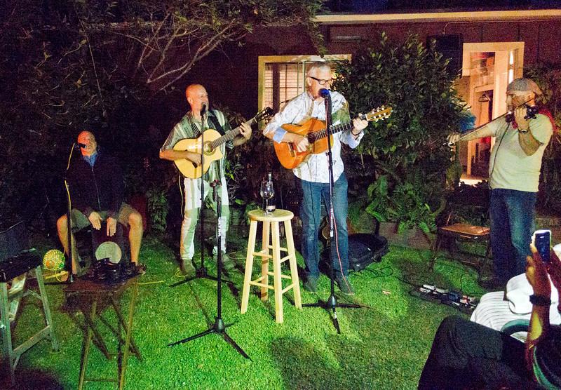 Michael Leach on drums, left; Freddy Clarke on guitar, center; Ray MacNaughton on guitar, right - Freddy Clarke birthday party