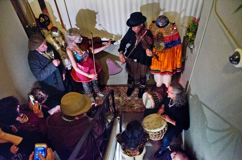 2018.01.27_Larissa Archer birthday party - Musicians on stairway