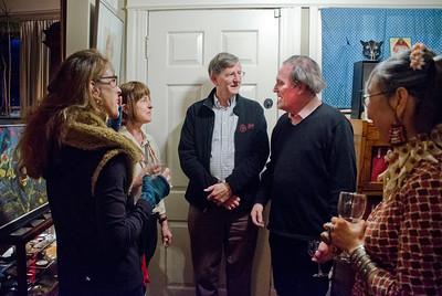 Birthday party at Robert Flynn Johnson - Robert Flynn Johnson, 2nd on right; Lin Chen Willis on right