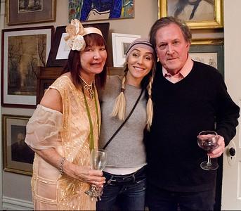 Birthday party at Robert Flynn Johnson - Sheila Ash on left, Robert Flynn Johnson on right