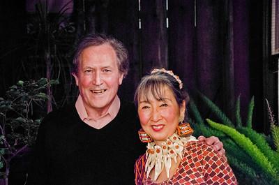 Birthday party at Robert Flynn Johnson - Robert Flynn Johnson on left; Lin Chen Willis on right