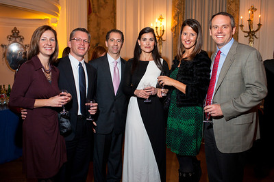 Jessica Bowman, Tim May, David Ettinger, Lori Ettinger, Teresa Byrne and Brian Byrne at the Alliance Française Beaujolais Nouveau Party at the Washington Club on November 18th, 2011.