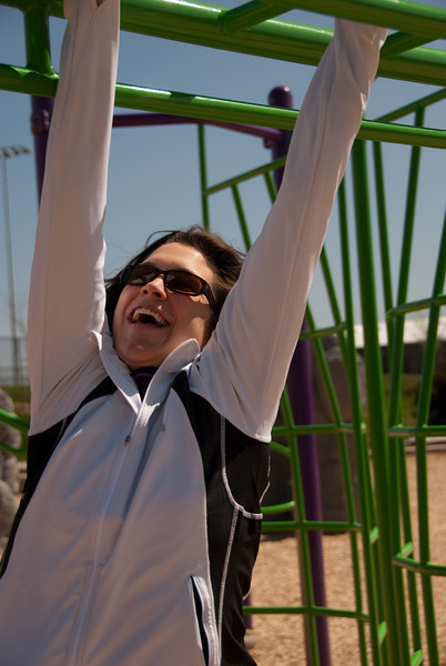 Beth on the monkey bars