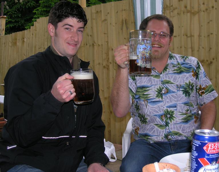 Aidan and Simon plus beer