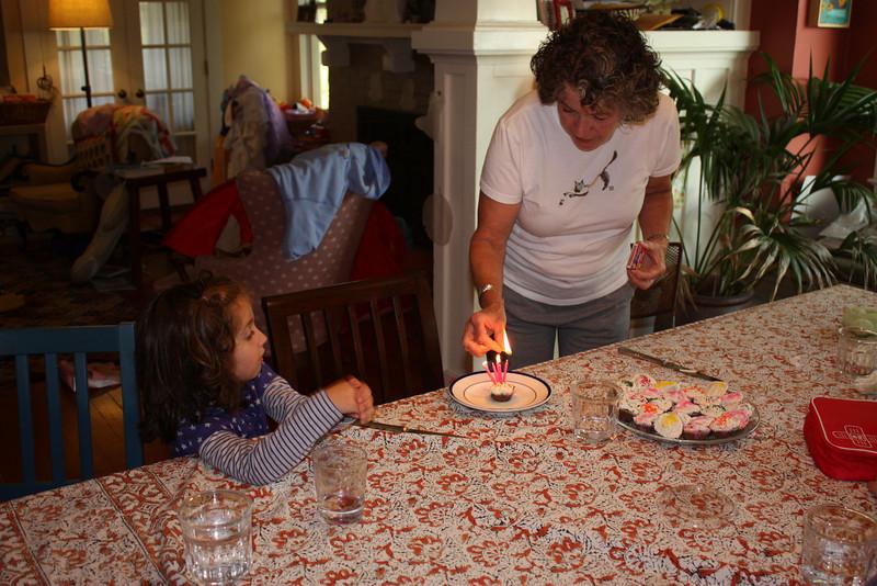 Amelia with her birthday cupcake.