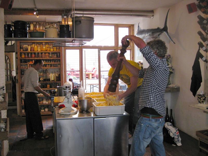 Preparing the potato-pumpkin salad