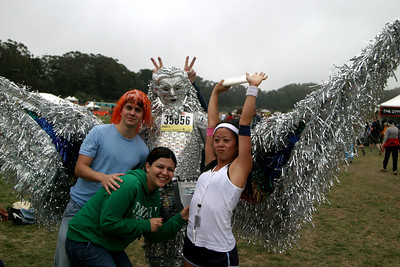 This guy finished the entire course, wearing 65 pounds of tinfoil, in less time than it took us to complete half.