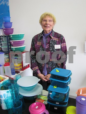LaVonne Keyser, Tupperware representative, in her booth.