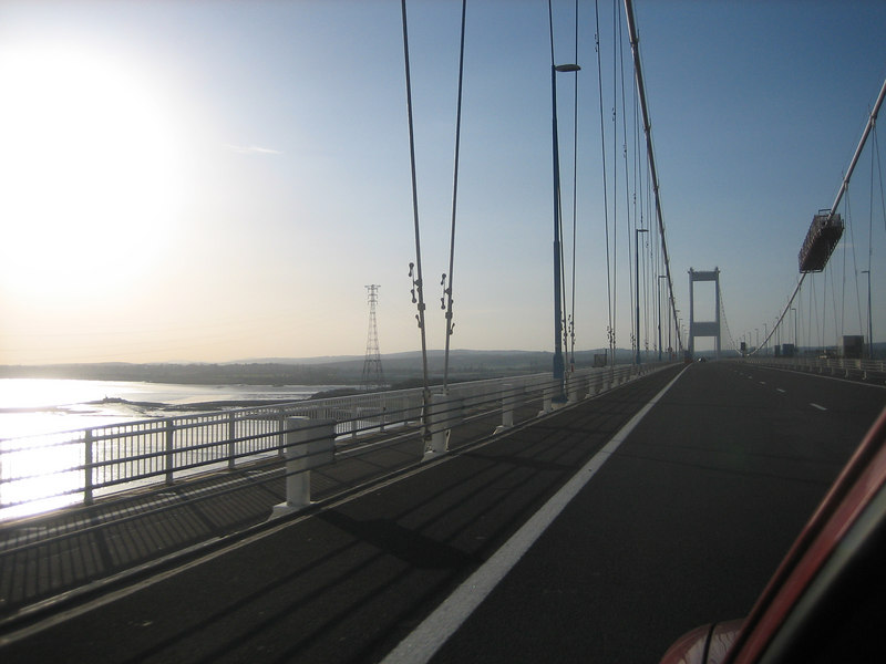 Crossing the old Severn Bridge on the way into Wales.