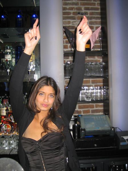 Aida working the bar