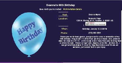 Deanna's Birthday evite