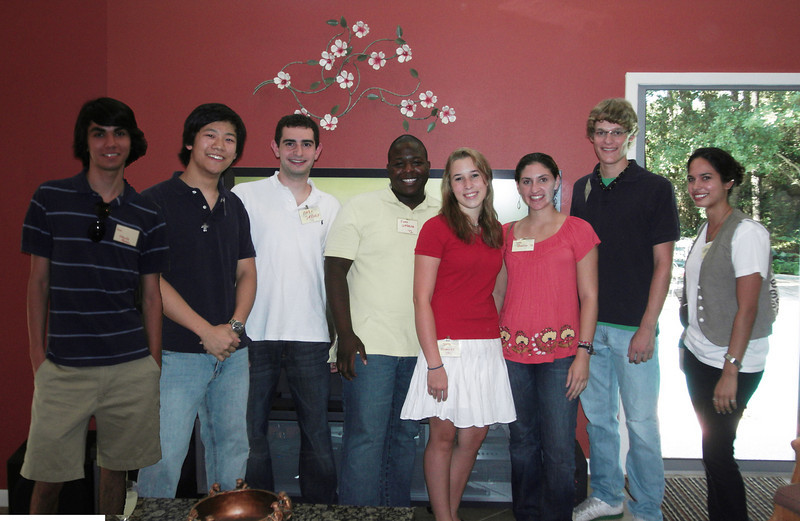 Members of the Brown Class of 2012 from Houston, left to right:  Charlie Hyman, Ben Kwak, Mark Sabbagh, John Warner, Jena Tavormina, Sara Llansa, Ryan Provencher, Erika