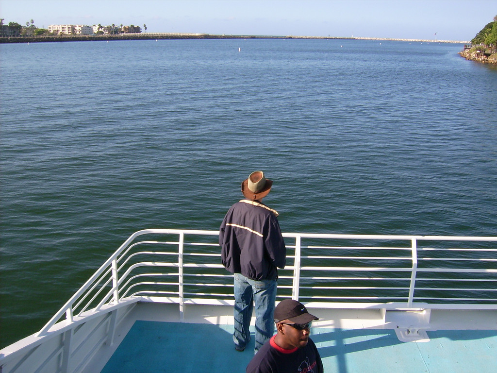Dirk Feild mans the lookout post as we leave the calm waters of the harbor for the open sea.