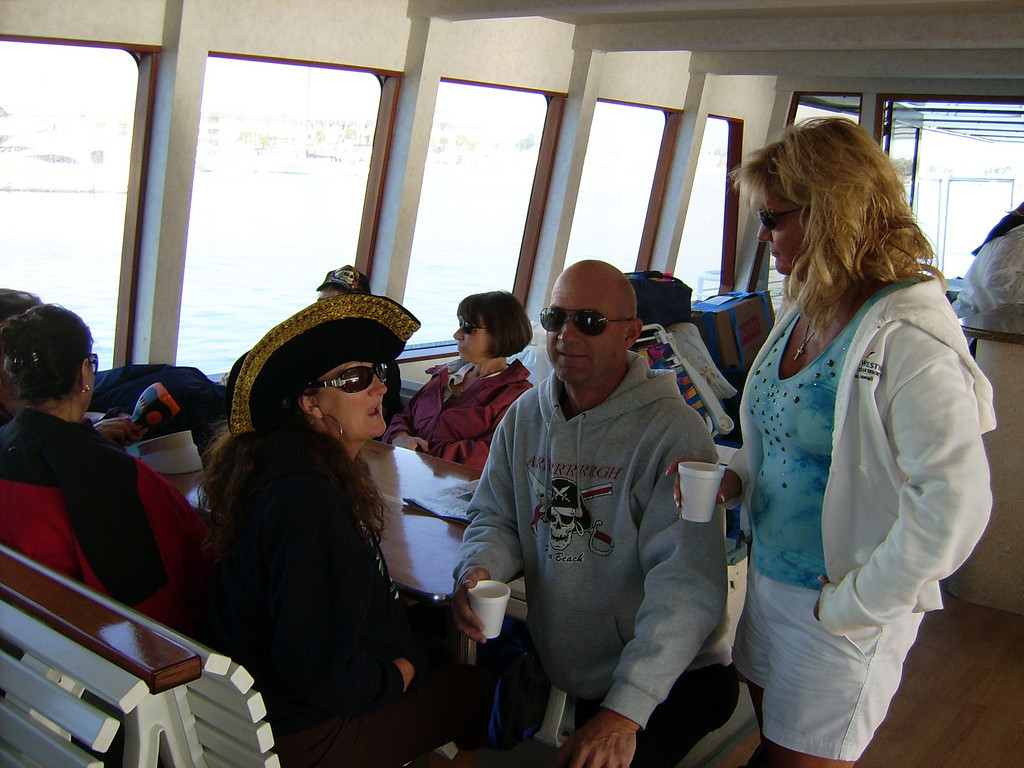 Pam Vine, Scott Conley (Activity VP) and Jane Watson relax as we move away from the dock.