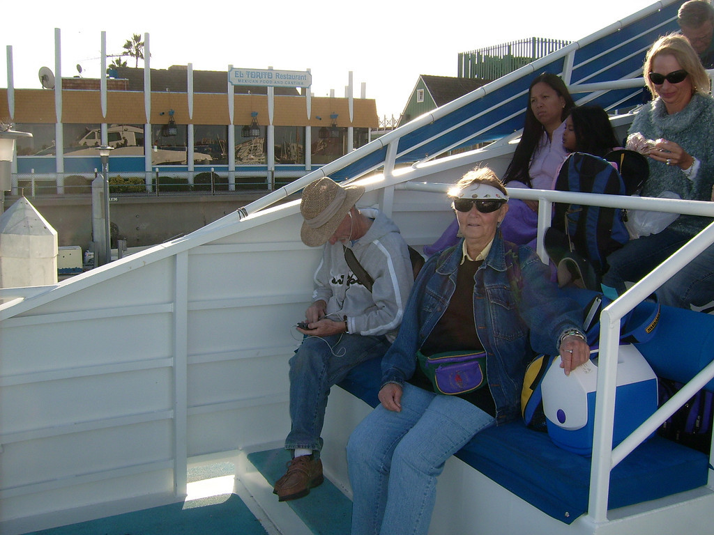 Mike Bronstein and Nancy Stevens on the front line of the main deck as we set sail