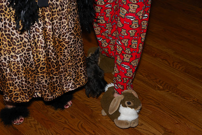 Check out Terese's feathered slippers and Elizabeth's bunny slippers!