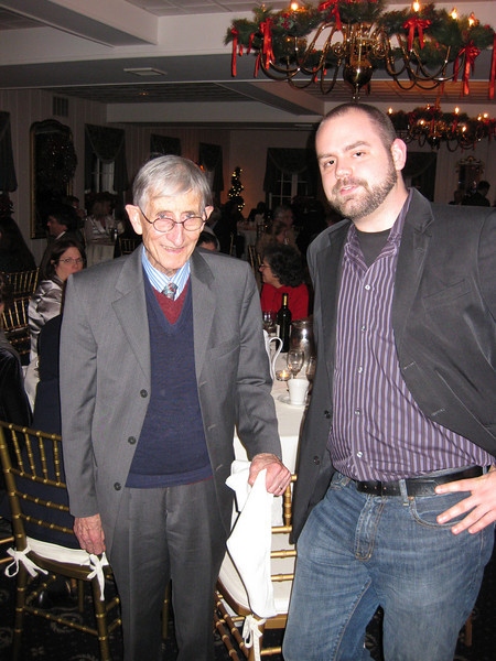 Tom Rondeau meets Freeman Dyson at our Christmas party.