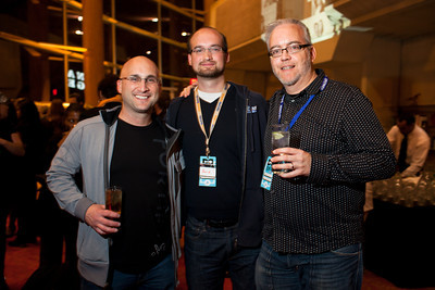 Jonathon Perrelli, David Lide, and Joseph Finneran at the DC Week closing party at the Arena Stage in Washington, DC. Photo by Dakota Fine.