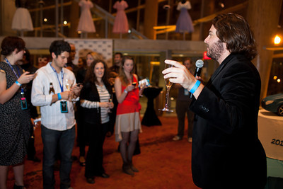 Peter Corbett addresses VIPs during a champagne toast at the DC Week closing party at the Arena Stage in Washington, DC. Photo by Dakota Fine.