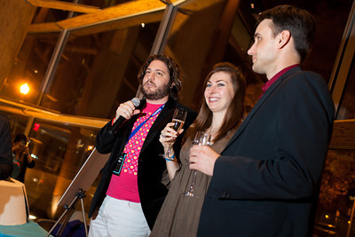 Peter Corbett, Jen Consalvo, and Frank Gruber address VIPs during a champagne toast at the DC Week closing party at the Arena Stage in Washington, DC. Photo by Dakota Fine.