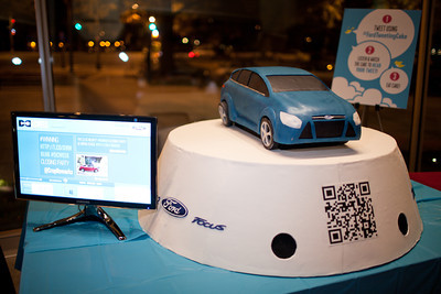 """Host sponsor Ford furnished a special """"tweeting"""" cake at the DC Week closing party at the Arena Stage in Washington, DC. Photo by Dakota Fine."""