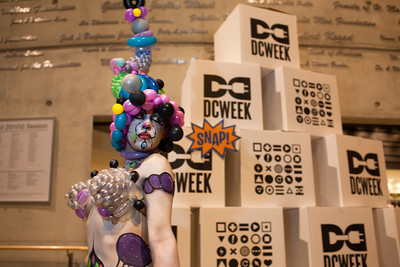 Performance artist Katie Balloons at the DC Week closing party at the Arena Stage in Washington, DC. Photo by Dakota Fine.
