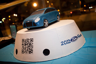 "Host sponsor Ford furnished a special ""tweeting"" cake at the DC Week closing party at the Arena Stage in Washington, DC. Photo by Dakota Fine."