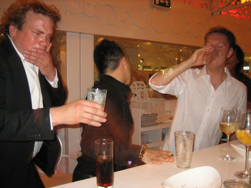 Hao-en wins the beer drinking contest, by far. Melvin is slow, Anko is still drinking!