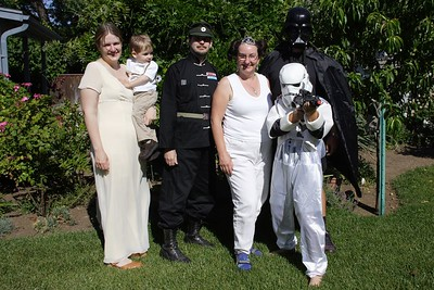 Princess Leia Marbert, Sander Annekin, Grand Moff Tarkin Christopher, Princess Leia Amy, Trooper NX01 David, and Darth Daddy