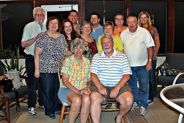 <center><h4>The Davis Family and associates.</h4> Front Row: Karen and Dave Betty, Julie, Deanna, Trudy, Bob Roger, Dean, Matt, Jessica, Kim </center>
