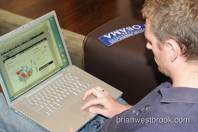 Richard monitors election results on his Macbook waiting for West Coast polls to close on Election Night 2008.