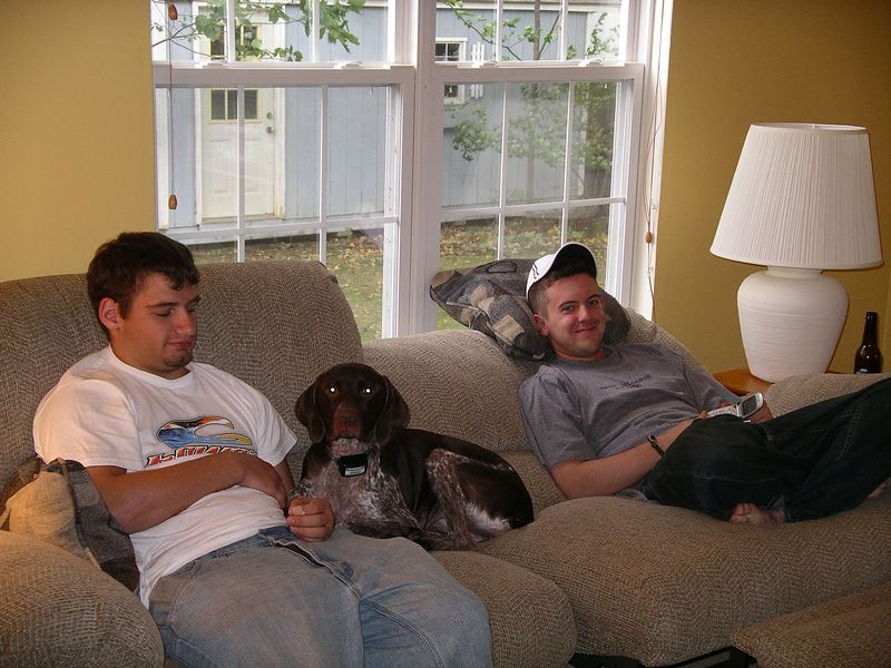 Evan and Jonathan (of course Dutchess too) watching the football game.