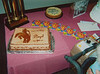 To the left of Dad's BD cake is his championship trophy...  I also had a cake for Rex, his grandson who shared the same BD month.