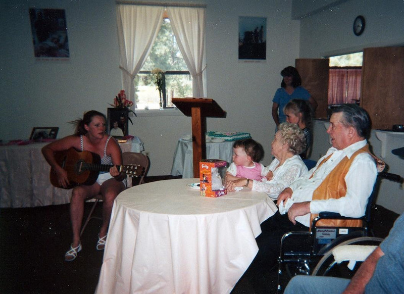 Nikki Willson singing a special song for her beloved great-grandparents, Virginia and Floyd Bramwell on their 60th wedding anniversary in 2000, May 27 at the SDA church in Pagosa Springs, CO.  Nikki's grandmother is Connie, and her mother, Pamela.