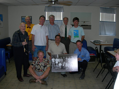 Phil proves he can still sit cross-legged on the floor (and still has the loudest shirt!) Standing L to R: Henry Jex, Ted Ancona, Pete Plumb, Bill Watson, Joe Mastropaolo, Taras Kiceniuk Jr. In front: Phil Esdaile, Sam Duran, Bryan Allen.