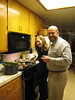 Marie and Steve in our kitchen helping with the paella!