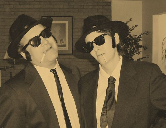 Jake (left) and Elwood, The Blues Brothers, make an appearance at Dan's Party.