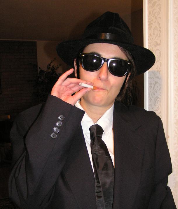Elwood has a smoke